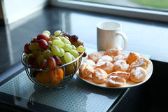 Cup, Cakes And Fruits Royalty Free Stock Photos