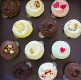 Cup cakes. Assorted colorful cup cakes - top view Stock Photography