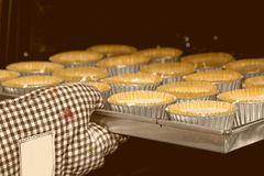Cup cakes baking in oven Royalty Free Stock Image