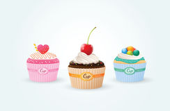 Cup cakes. Chocolate mint strawberry vector illustration