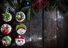 Cup cakes with Christmas decoration Royalty Free Stock Photography