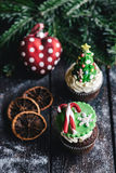 Cup cakes for Christmas Stock Photography