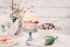 Cup cakes with cream cheese topping on beautiful wooden cake sta. Nd with flowers and wooden background behind it, spring mood still life photo for holiday Stock Images