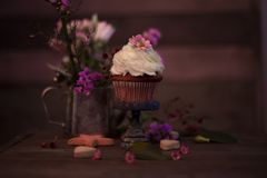 Cup cakes with cream cheese topping on beautiful wooden cake sta. Nd with flowers and wooden background behind it, spring mood still life photo for holiday Royalty Free Stock Photos
