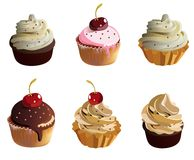 Cup Cakes With Cream Stock Images