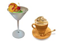 Cup Cakes With Cream. Cup cakes and cup of coffee. Vector illustration Royalty Free Stock Photos