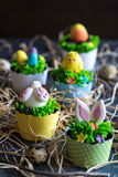 Cup cakes with Easter decoration Royalty Free Stock Photo