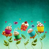 Cup cakes flowers royalty free illustration
