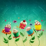 Cup cakes flowers vector illustration
