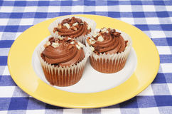 Cup cakes on a plate. Three chocolate cup cakes on plate and table cloth Royalty Free Stock Photo
