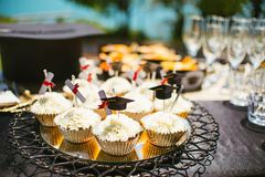Cup cakes on a plate stock photography