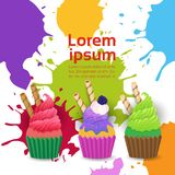 Cup Cakes Set Different Taste Dessert Colorful Poster. Vector Illustration Royalty Free Stock Photos