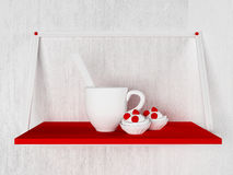 Cup and the cakes on the shelf, 3d. Rendering Stock Image