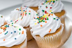 Cup cakes on a silver plate Stock Photo