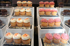 Cup cakes. Sweets ar a gastronomic specialty of belgium. here cup cakes in a pastry shop stock photo