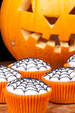 Cup-cakes with web. Halloween cupcakes with web vertical picture Stock Photos