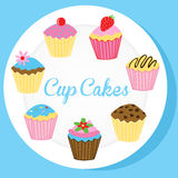 Cup cakes on a white plate Royalty Free Stock Image