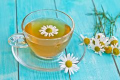 Cup of camomile tea with camomile flowers. Camomile tea. Camomile tea with camomile flowers in blue table background Stock Photography