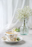 Cup of camomile tea, morning still-life,. Cup of camomile tea, chamomile morning still-life,  close-up, selective focus Royalty Free Stock Photo