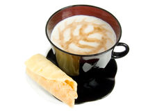 Cup cappuccino. Black cup cappuccino with cookies, tasty meal Royalty Free Stock Photos