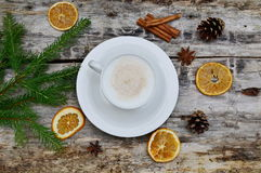 Cup of Cappuccino Beverage Wooden Background. Tree Concept of Christmas Top View Table Copy Space Royalty Free Stock Photo