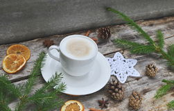 Cup of Cappuccino Beverage Wooden Background. Tree Concept of Christmas Top View Table Copy Space Stock Photography