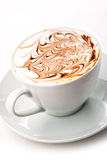 Cup of cappuccino and chocolate topping with coffee beans on white photography, hot drink produact photography  on white Royalty Free Stock Photos