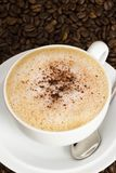 A cup of cappuccino coffee. On a background of beans Royalty Free Stock Photo