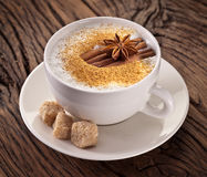 Cup of cappuccino decorated with spices. Stock Photography