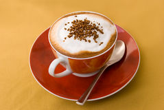 A cup of cappuccino with  decoration Stock Photo