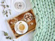 Cup with cappuccino, doughnutt, green pastel giant plaid. Bedroom, morning concept Royalty Free Stock Photography
