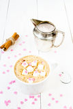 Cup of cappuccino with foam, marshmallow, cinnamon and milk mug Stock Photography