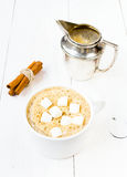 Cup of cappuccino with foam, marshmallow, cinnamon and milk mug Royalty Free Stock Image