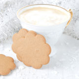 Cup of cappuccino and ginger cookies Stock Image