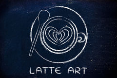 Cup of cappuccino with heart design and text Latte Art Stock Image
