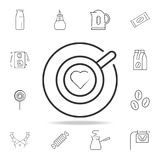 Cup of cappuccino with heart line icon. Detailed set of web icons and signs. Premium graphic design. One of the collection icons f royalty free illustration