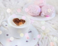 Cup with cappuccino Stock Images