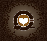 Cup of cappuccino with heart shape pattern surroun Royalty Free Stock Photography