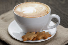 Cup of cappuccino with home cookies Royalty Free Stock Images