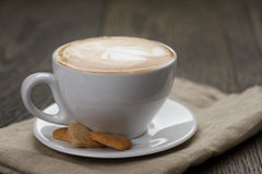Cup of cappuccino with home cookies Stock Photos