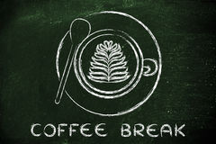 Cup of cappuccino with leaf design and text Coffee Break Royalty Free Stock Images