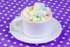 Cup of cappuccino with marshmallows Royalty Free Stock Photography