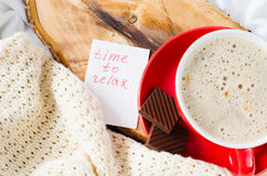 Cup of Cappuccino and Notes Time to Relax. Royalty Free Stock Photos
