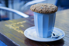 Cup of cappuccino with oat cookie. A cup of cappuccino with oat cookie Stock Images