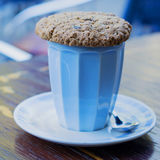 Cup of cappuccino with oat cookie Stock Photography