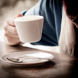 Cup of cappuccino over wooden table Stock Photo