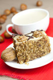 Cup of cappuccino, a piece of cake with nuts Royalty Free Stock Photos