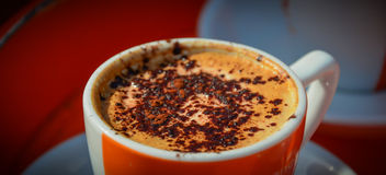 Cappuccino in cup served with cocoa. Royalty Free Stock Photos
