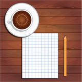 Cup cappuccino, sheet of notebook and pencil on table Royalty Free Stock Image