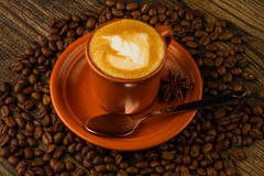 Cup of cappuccino, star anise and coffee beans Royalty Free Stock Photography